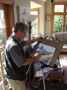 Ron Esplin at work at his home