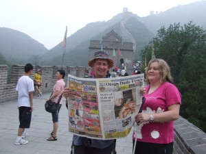 News Flash, Ron and Julie on Great Wall of China
