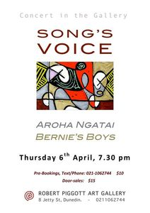 An Invitation to �SONG�S VOICE�  A warm evening of Song - at the Rob Piggott Gallery Thursday 6 March