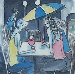 Cafe Scene (Main Etching SOLD)